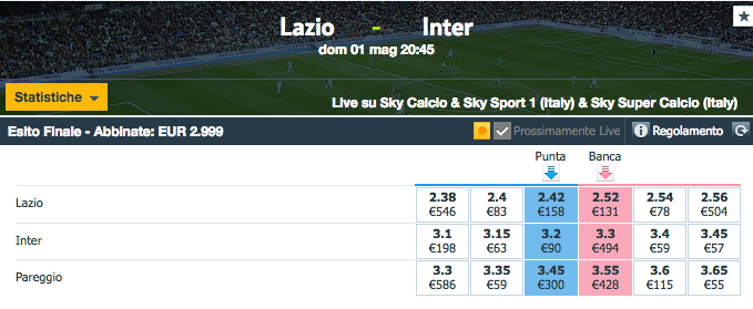 quote lazio - inter
